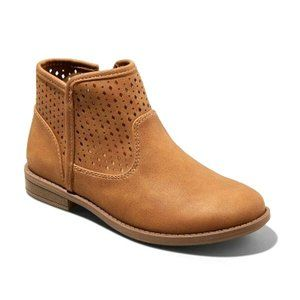 NWT Cat & Jack Girls Ankle Zip Boots Brown